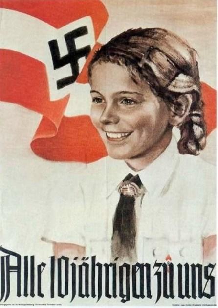 Propaganda nazi con una joven chica.